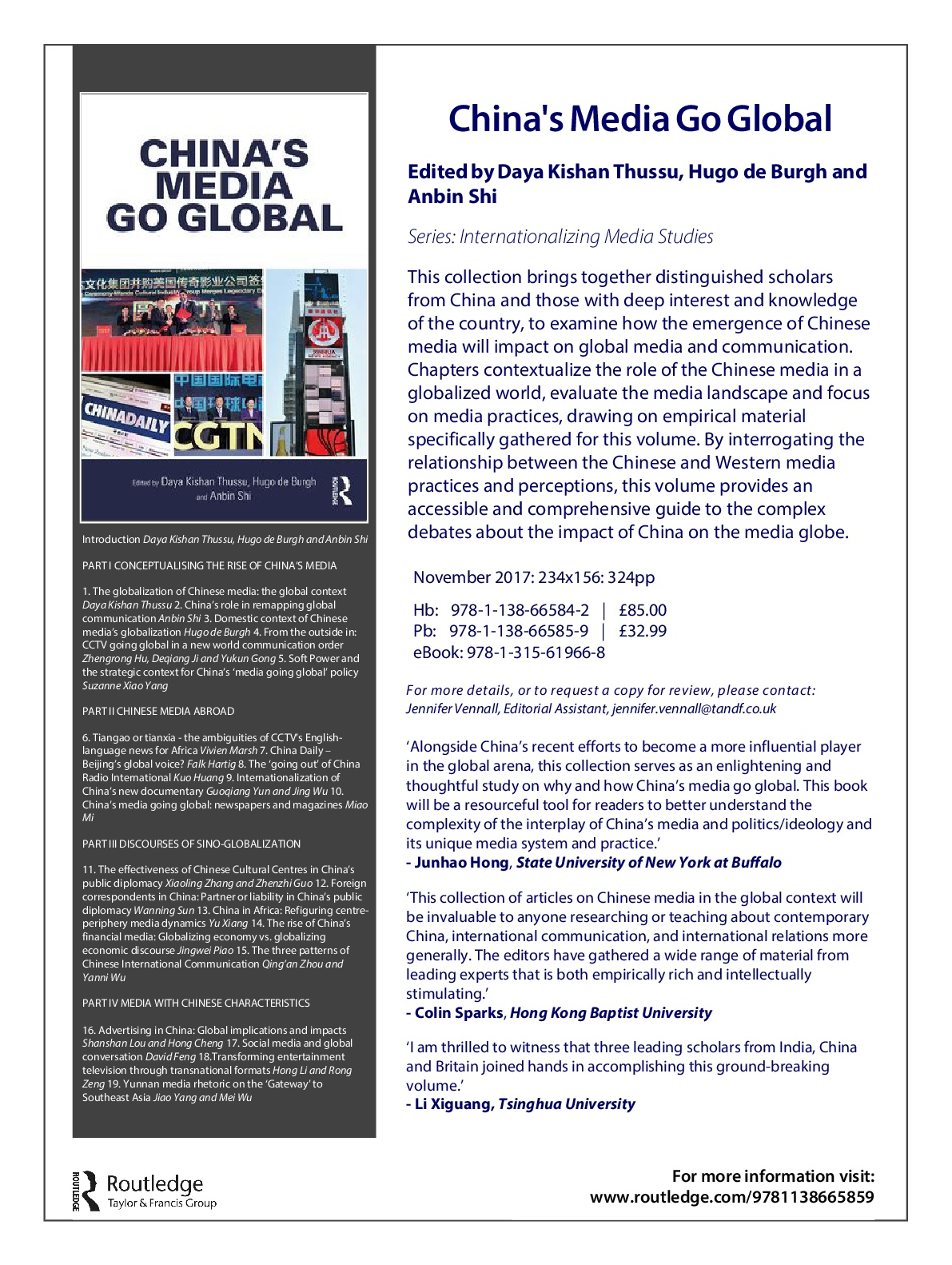 News from AMIC Partners: 'China's Media Go Global' now available.
