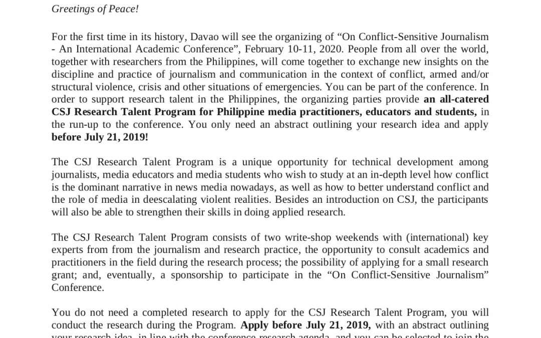 On Conflict-Sensitive Journalism – An International Academic Conference