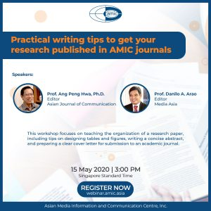 Webinar Poster: Practical writing tips to get your research published in AMIC journals